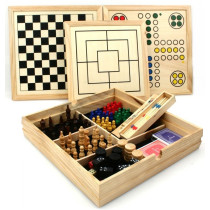 Wooden games colllection cassette 10-in-1.
