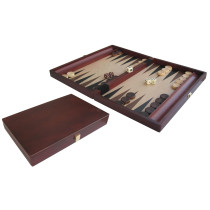 Mohogany coated folding backgammon set