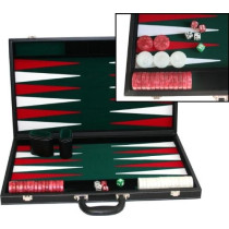 "Deluxe Large 21"" black Vinyl Backgammon case"