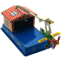 Aeroplane hangar tin toy