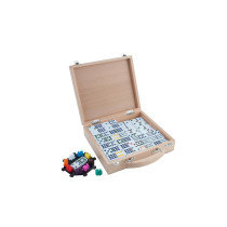 Double 12 Mexican Domino Train in wooden case