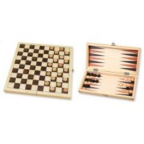 Wooden Folding Draughts / Backgammon Set