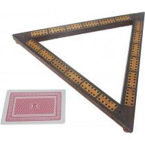 Inlaid triangular cribbage board