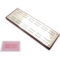 Mahogany & steel cribbage board