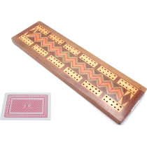 Inlaid hardwood cribbage board