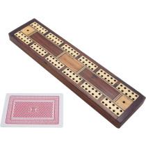 Inlaid mahogany and bone cribbage board