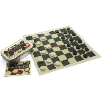 Pocket / Travel Draughts game in a tin
