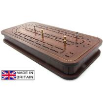 British wooden Dominoes & cribbage games box