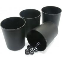 4 X black plastic dice cups