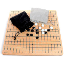 Wooden Go game with glass stones