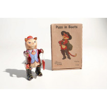 Puss In Boots mechanical clockwork retro tin toy replica