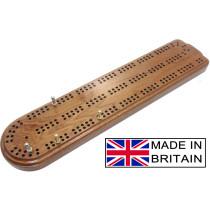 """Shaped Mahogany British cribbage board - 30cm (12"""")"""