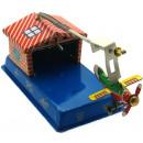 Aeroplane hangar tin toy