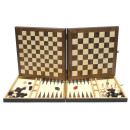 Large Wooden Folding Chess, Draughts & Backgammon games compendium