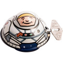 tin oval spaceman clockwork tin toy